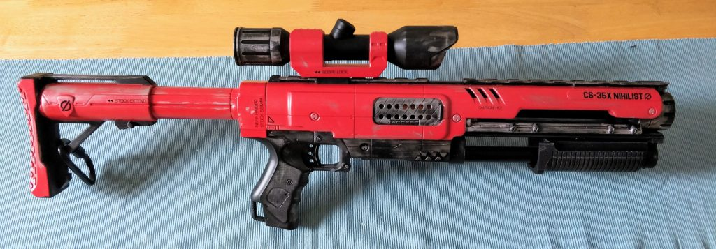Nerf Raider dart blaster side view